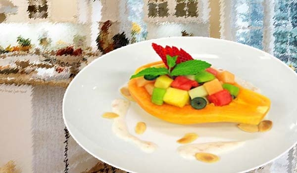 How to Cook Stuffed Papaya With Yogurt And Mix Fruits Recipe