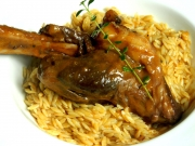 Braised Lamb Shank in Red Wine with Orzo Pasta