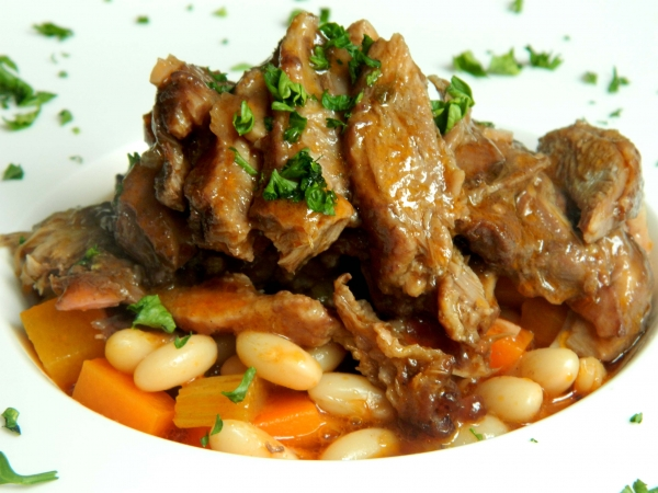 Duck Confit with Caneloni Beans